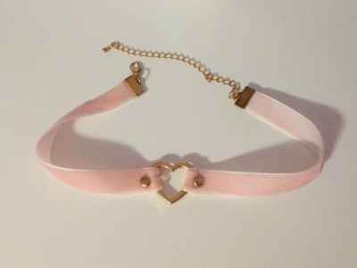 Velvet Pink Choker with Gold Heart