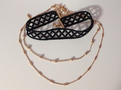 Black Choker with Gold Chains