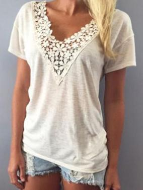 Lace V Neck Top | Chicnico