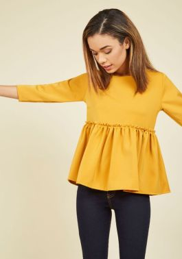Yellow Peplum Top | Modcloth
