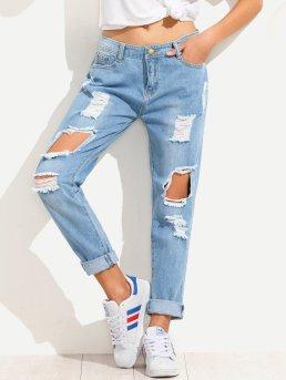 Blue Shredded Boyfriend Jeans | Seventh Stitch