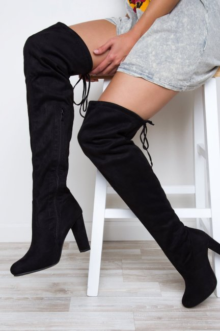 LOSE CONTROL THIGH HIGH BOOTS BLACK