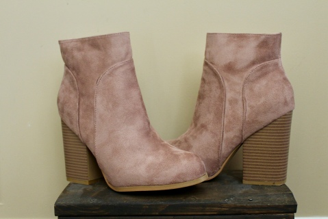 Catherine Malandrino Faux Suede Rose Gold Boots Large Heel