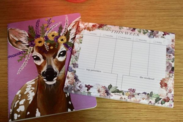 Marshalls - Deer flower crown purple notebook - floral weekly planner