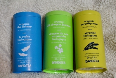 Davids Tea | Organic the skinny | Organic silk dragon jasmine | Organic serenity now | Chloe Plus Coffee